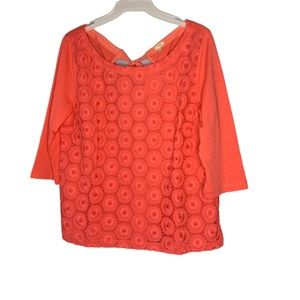 NWT J Crew Eyelet Lace Tie Back Cotton Knit Top